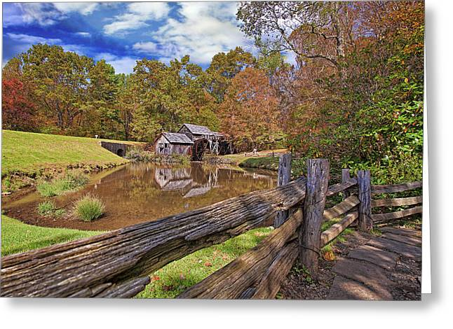 Mabry Mill Virginia Greeting Card by Marcia Colelli