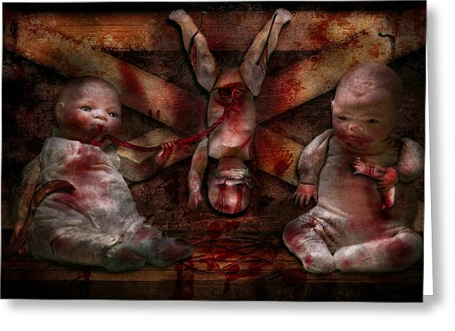 Macabre - Dolls - Having A Friend For Dinner Greeting Card by Mike Savad