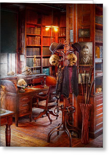 Macabre - In The Headhunters Study Greeting Card by Mike Savad