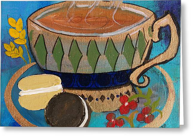Greeting Card featuring the painting Macaroons And Tea by Robin Maria Pedrero