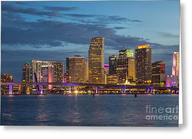 Miami As The Sun Sets Greeting Card by Rene Triay Photography
