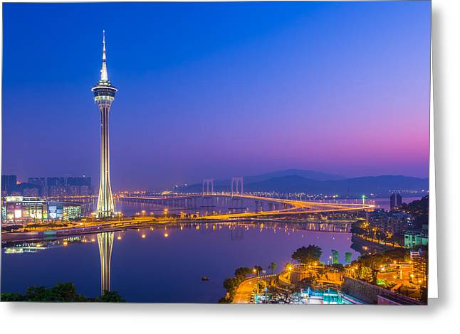 Macau Tower In China Greeting Card by Nattee Chalermtiragool
