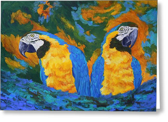 Greeting Card featuring the painting Macaw Mates by Margaret Saheed