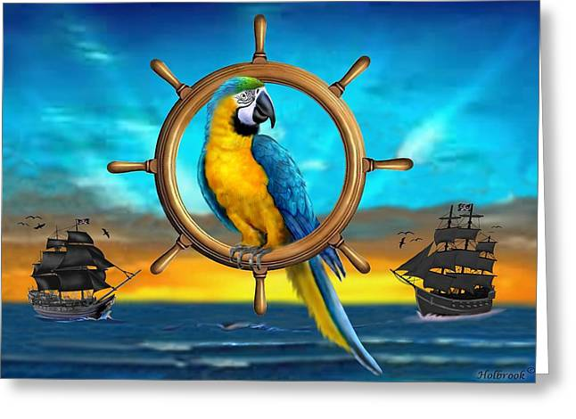 Macaw Pirate Parrot Greeting Card