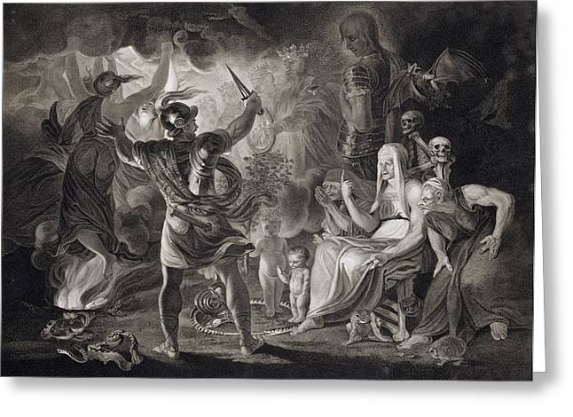 Macbeth, The Three Witches And Hecate Greeting Card by John & Josiah Boydell