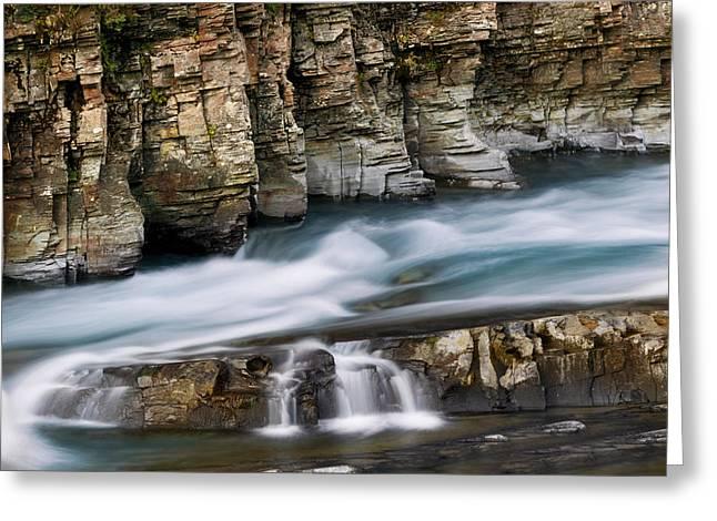 Macdonald Creek Falls Glacier National Park Greeting Card by Rich Franco