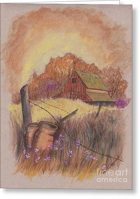 Greeting Card featuring the drawing Macgregors Barn Pstl by Carol Wisniewski