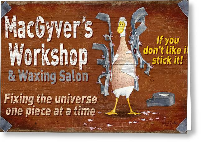 Macgyvers Workshop Greeting Card by JQ Licensing