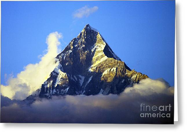 Greeting Card featuring the photograph Machapuchare - Sacred Mountain by Jacqi Elmslie