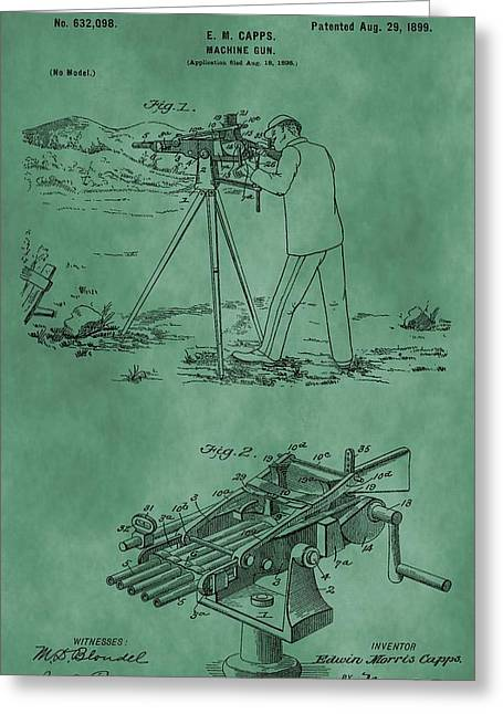 Machine Gun Patent Green Greeting Card