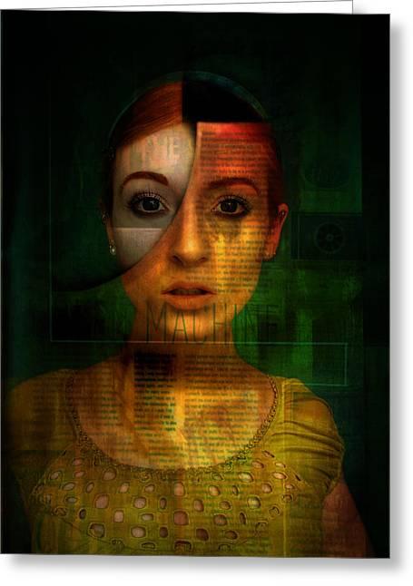 Greeting Card featuring the digital art Machine by Kim Gauge