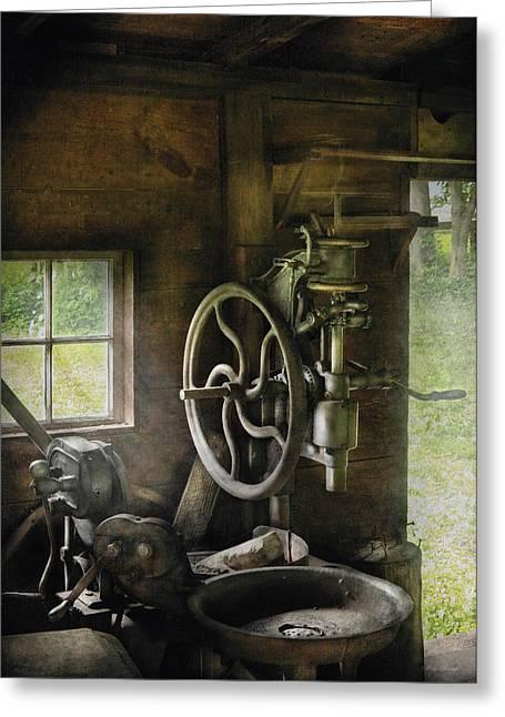 Machine Shop - An Old Drill Press Greeting Card