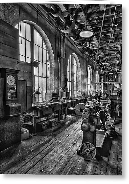 Machine Shop Bw Greeting Card