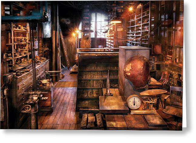 Machinist - Ed's Stock Room Greeting Card by Mike Savad