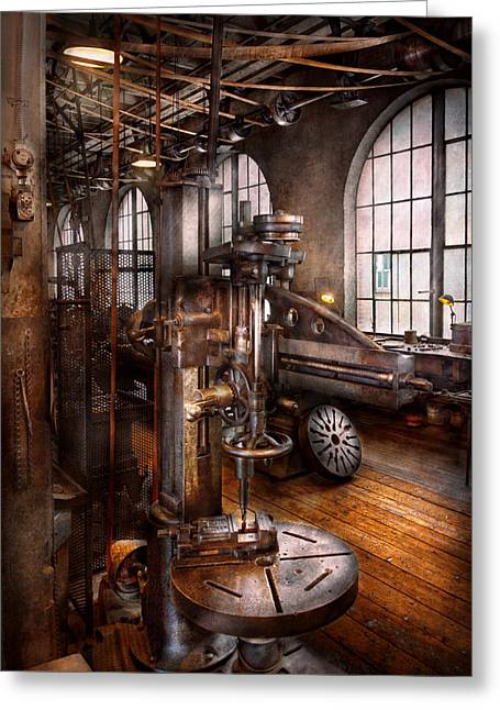 Machinist - Industrial Drill Press  Greeting Card by Mike Savad