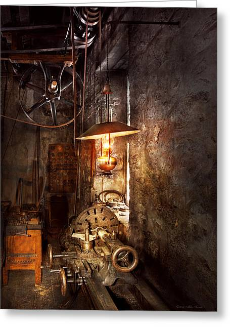 Machinist - Lathe - The Corner Of An Old Workshop Greeting Card by Mike Savad