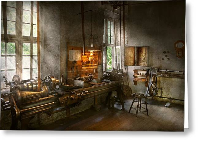 Machinist - Lathes Greeting Card by Mike Savad