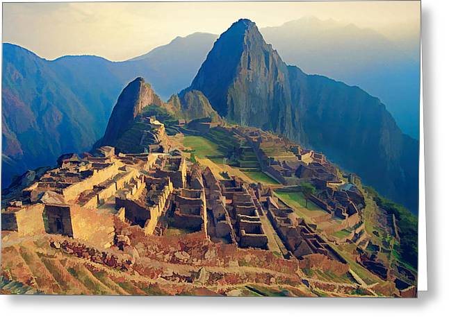 Machu Picchu Late Afternoon Sunset Greeting Card