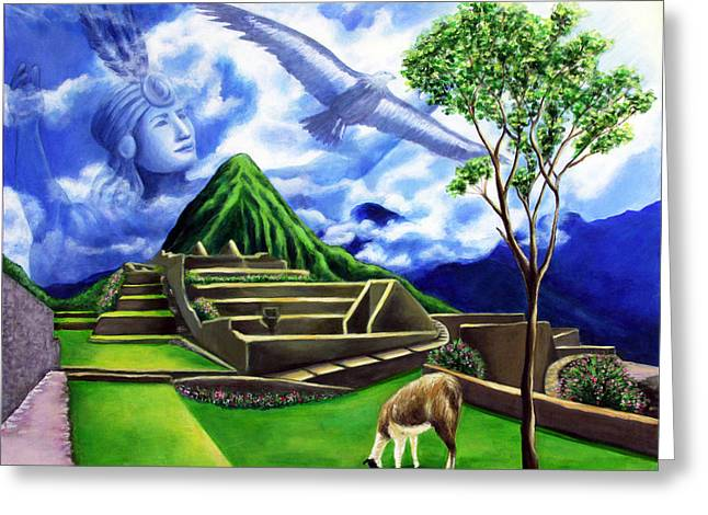 Machu Picchu Greeting Card by Marilen Morales