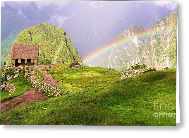 Machu Picchu Rainbow Greeting Card