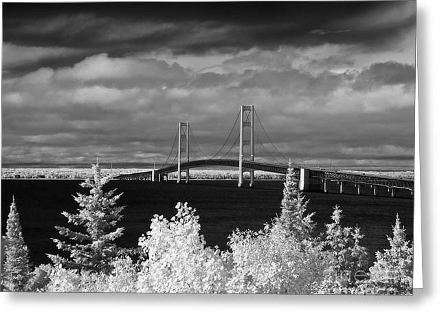 Macinac Bridge - Infrared Greeting Card