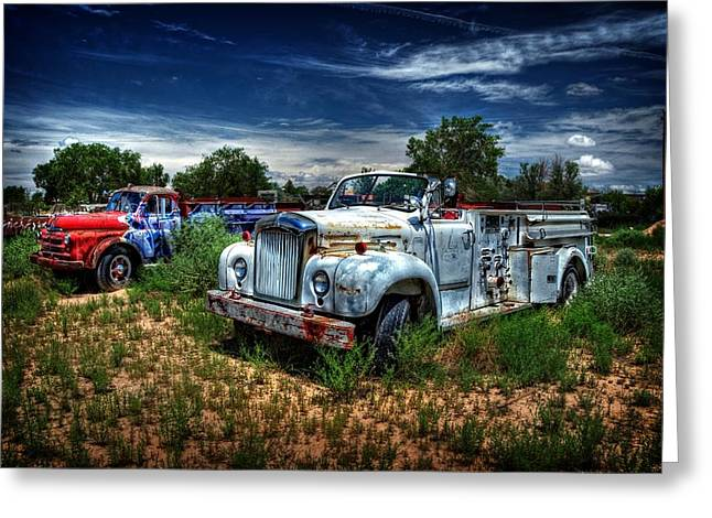 Greeting Card featuring the photograph Mack Fire Truck And Graffiti Fire Truck by Ken Smith
