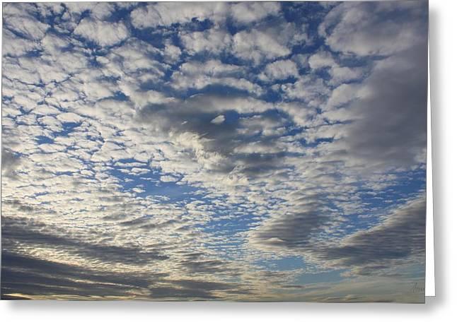 Mackerel Sky Natural Greeting Card by Amanda Holmes Tzafrir