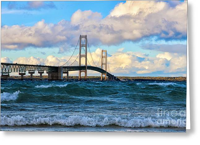 Mackinac Among The Waves Greeting Card by Rachel Cohen