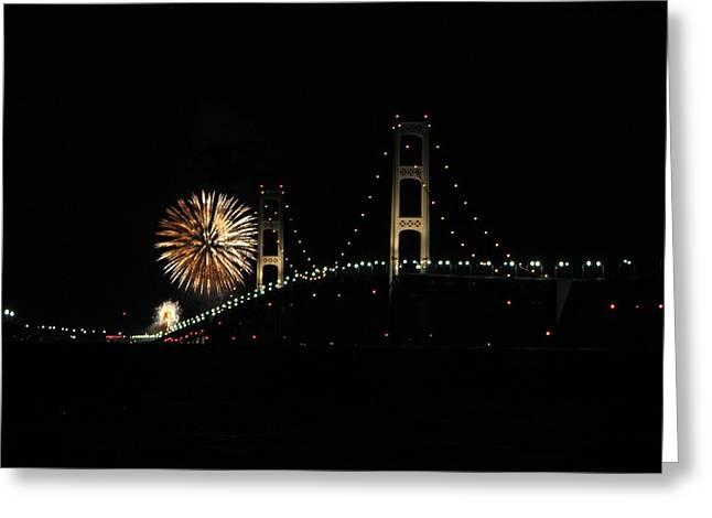 Mackinac Bridge 50th Anniversary Fireworks Greeting Card