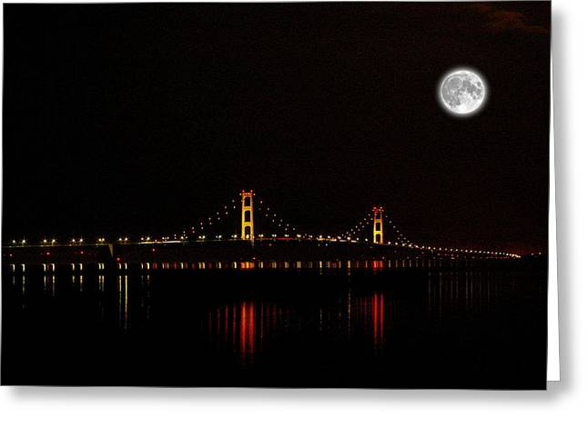 Mackinac Bridge And Moon Greeting Card