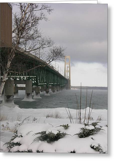 Mackinac Bridge At Christmas Greeting Card