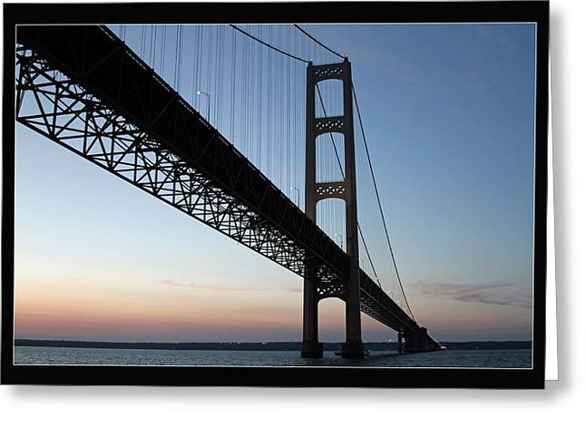 Mackinac Bridge At Sunset Greeting Card