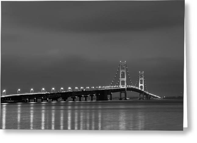 Mackinac Bridge Black And White Greeting Card