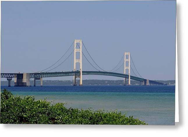 Mackinac Bridge Blue Greeting Card