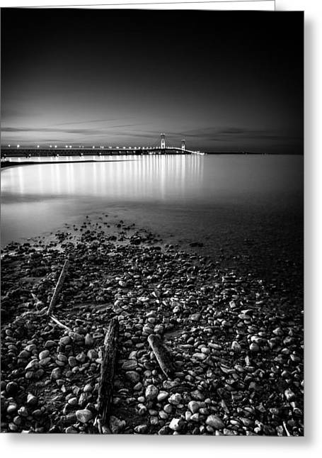 Greeting Card featuring the photograph Mackinac Bridge Bw by Larry Carr