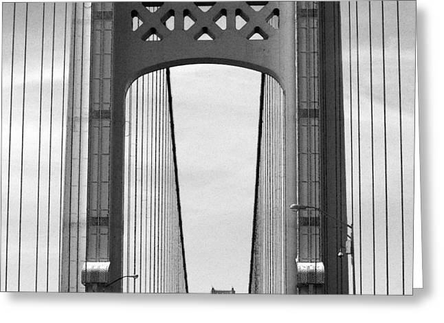 Mackinac Bridge Detail 2 Bw Greeting Card