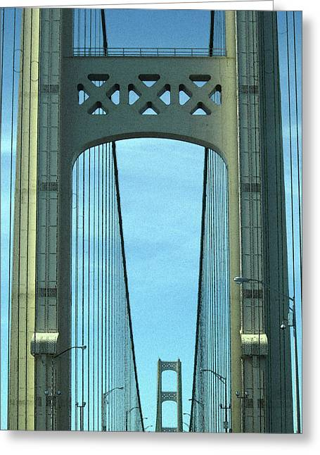 Mackinac Bridge Detail 2 Greeting Card by Mary Bedy