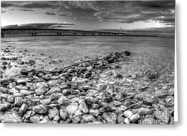 Mackinac Bridge In Black And White Greeting Card by Twenty Two North Photography