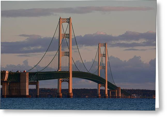 Mackinac Bridge In The Morning Sun Greeting Card by Keith Stokes