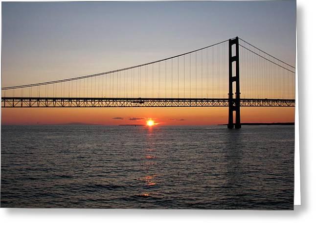 Mackinac Bridge Sunset Greeting Card