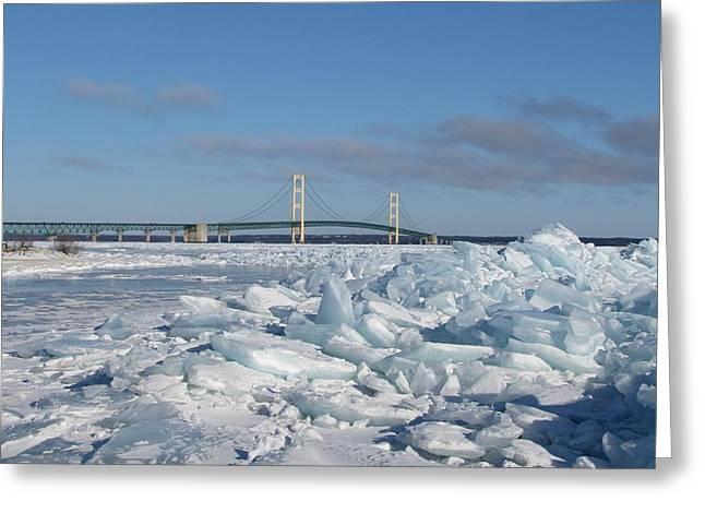 Mackinac Bridge With Ice Windrow Greeting Card