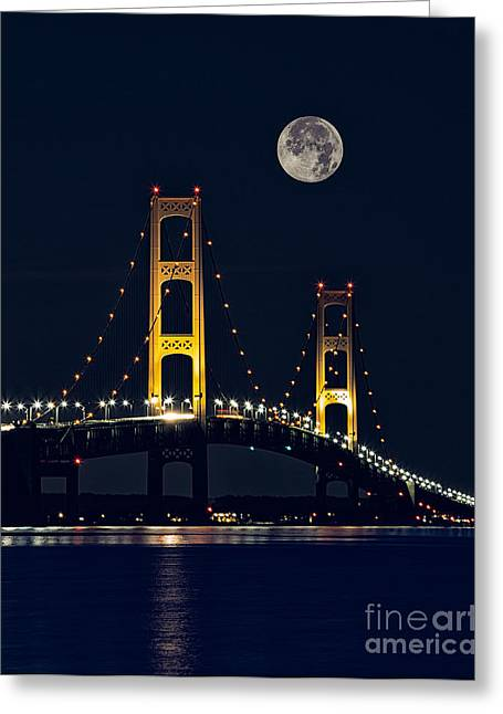 Mackinac Bridge With Moonrise Greeting Card by Todd Bielby