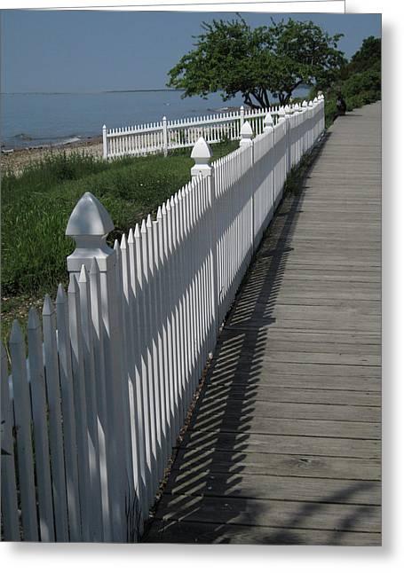 Mackinac Island Boardwalk Greeting Card by Mary Bedy