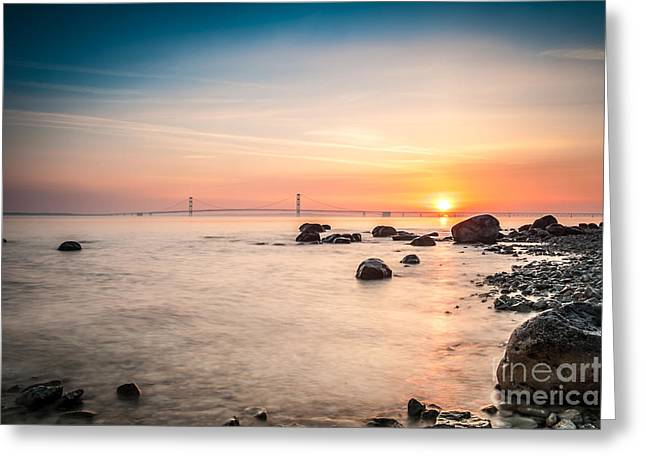 Greeting Card featuring the photograph Mackinac Sunrise by Larry Carr