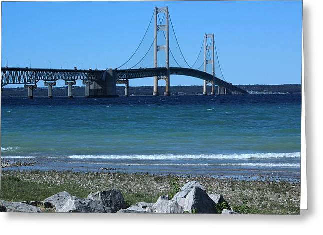 Greeting Card featuring the photograph Mackinaw Bridge by Bill Woodstock