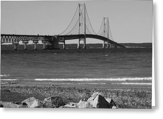 Greeting Card featuring the photograph Mackinaw Bridge Black And White by Bill Woodstock