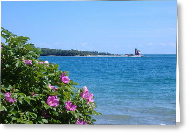 Greeting Card featuring the photograph Mackinaw Island Lighthouse by Bill Woodstock