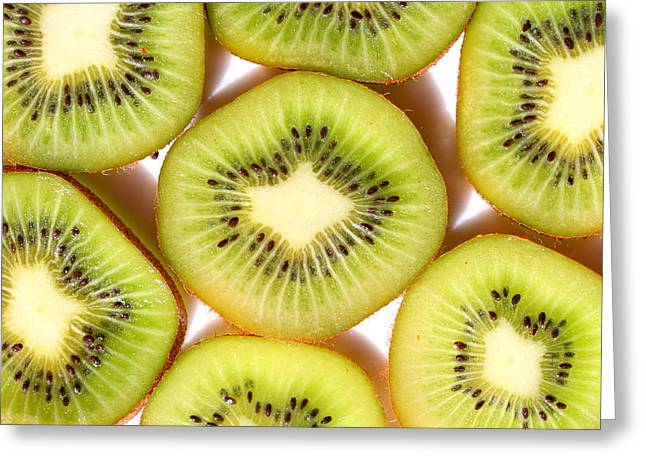 Macro Kiwi  Greeting Card by Susan Moore