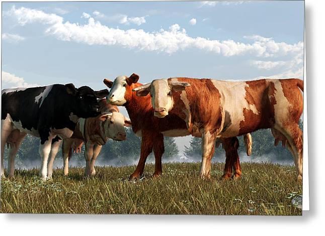 Mad Cows Greeting Card by Daniel Eskridge