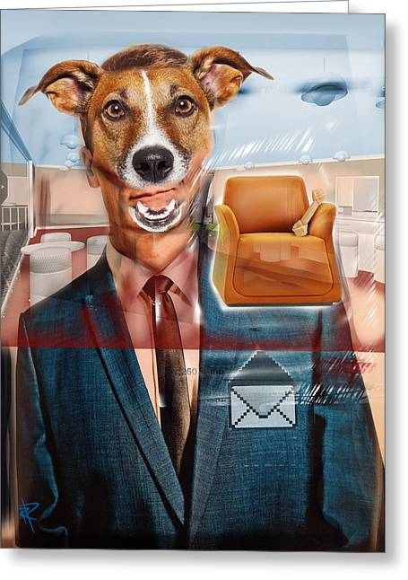 Mad Dog Greeting Card by Russell Pierce